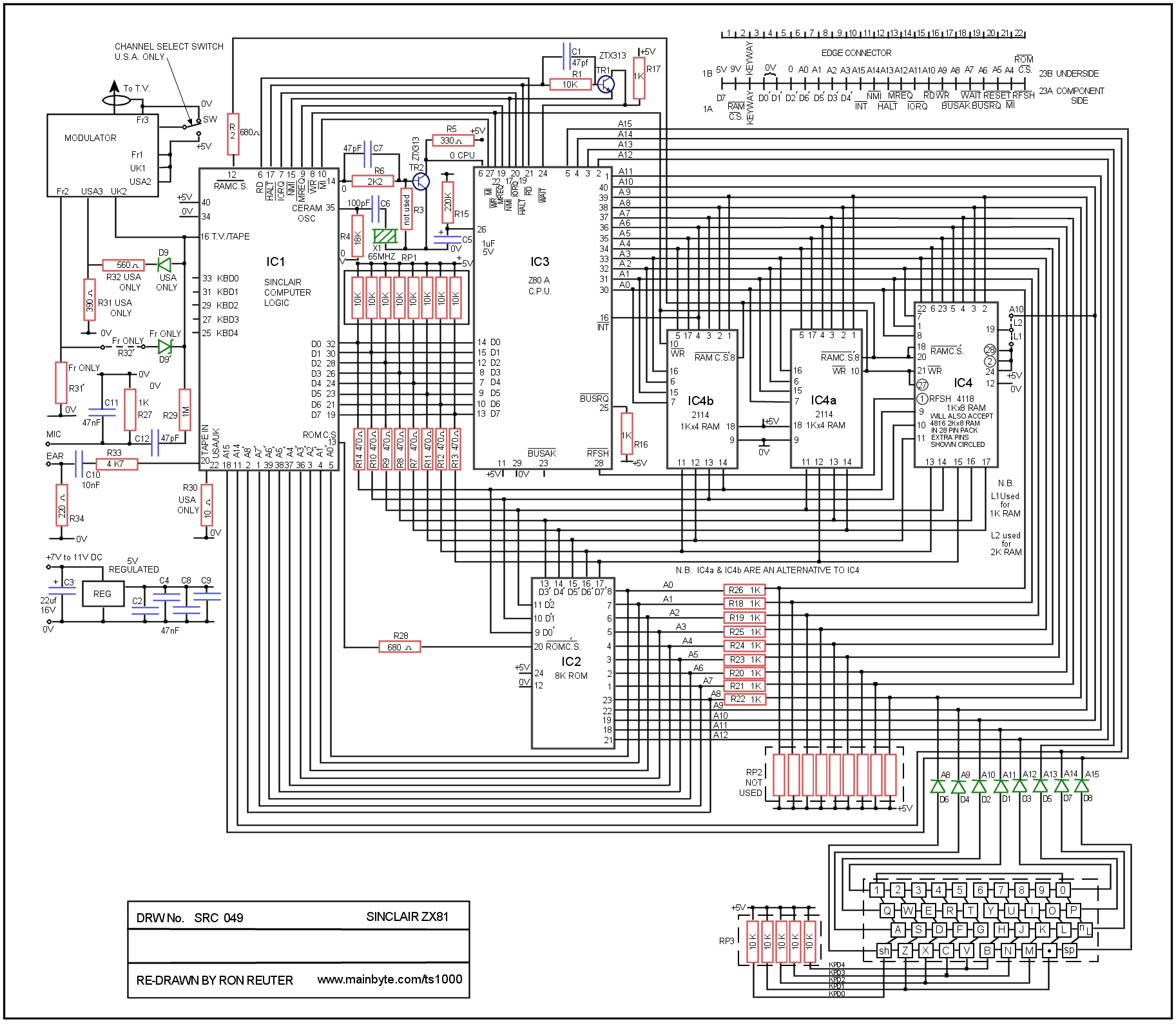 Click Here To Download The ZX81 TS1000 Schematic Diagram 1 Mb
